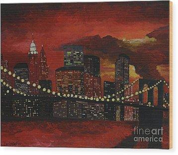 Sunset In New York Wood Print by Denisa Laura Doltu