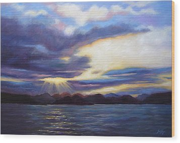 Sunset In Norway Wood Print by Janet King