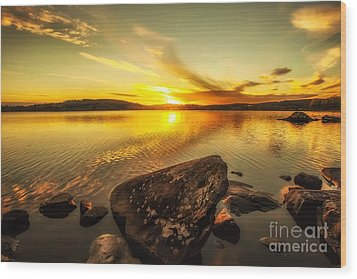 Wood Print featuring the photograph Sunset In Our Little Village  by Rose-Maries Pictures