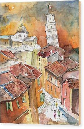 Sunset In Pisa Wood Print by Miki De Goodaboom