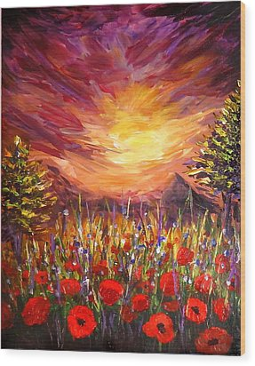 Sunset In Poppy Valley  Wood Print by Lilia D