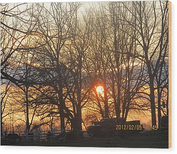 Sunset In Progress Stage Three Wood Print