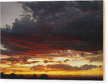 Sunset In Red Wood Print