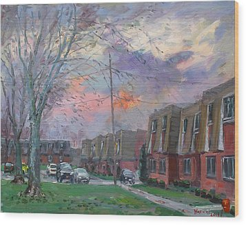 Sunset In Royal Park Apartments Wood Print by Ylli Haruni