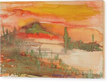 Wood Print featuring the painting Sunset In Saguaro Desert  by Mukta Gupta