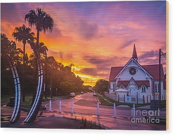 Wood Print featuring the photograph Sunset In Sandgate by Peta Thames