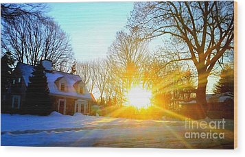 Snowy Sunset 2 Wood Print