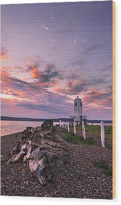 Sunset In Tacoma Wood Print