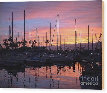 Sunset In The Ala Wai Wood Print by Laura  Wong-Rose