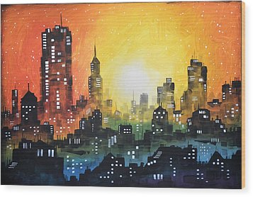 Wood Print featuring the painting Sunset In The City by Amy Giacomelli
