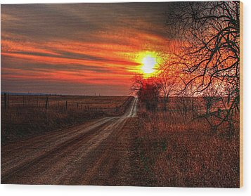 Sunset In The Country Wood Print by Karen McKenzie McAdoo