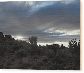 Sunset In The Desert Wood Print by James Welch