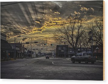 Sunset In The Heart Of Texas Wood Print