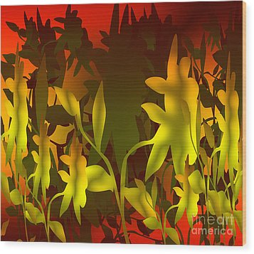 Sunset In The Jungle Wood Print by Gayle Price Thomas