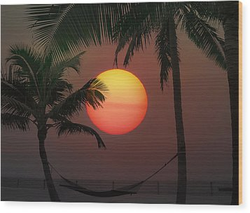 Sunset In The Keys Wood Print by Bill Cannon