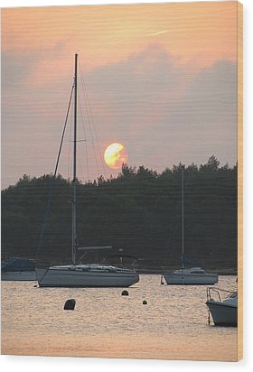 Sunset In The Port Wood Print by Eva Csilla Horvath