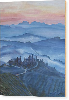 Sunsets In Tuscany Italy Wood Print by Lisa Boyd