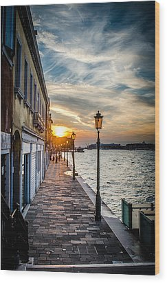 Sunset In Venice Wood Print by Stefan Hoareau