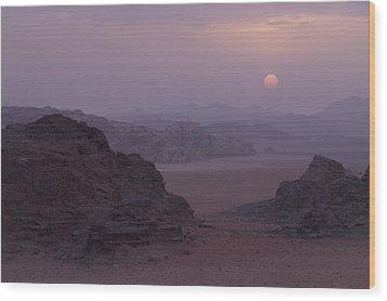 Sunset In Wadi Rum Jordan Wood Print by Alison Buttigieg