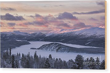 Sunset In Winter Mountains Wood Print