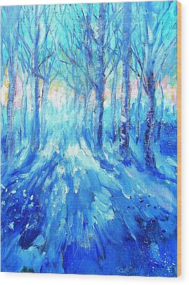 Sunset In A Winter Wood  Wood Print by Trudi Doyle