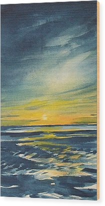 Wood Print featuring the painting Sunset by Jane See