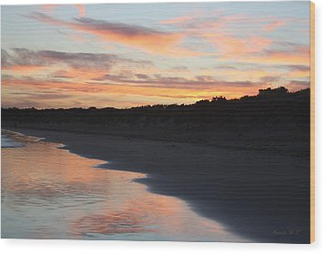 Wood Print featuring the photograph Sunset Kissing Shore by Amanda Holmes Tzafrir