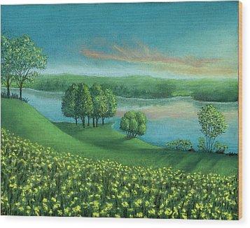Sunset Lake A Wood Print