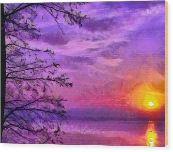 Sunset Lake Wood Print by Anthony Caruso