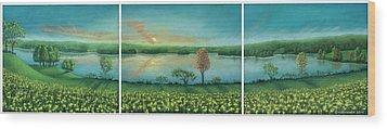 Sunset Lake Triptych Wood Print