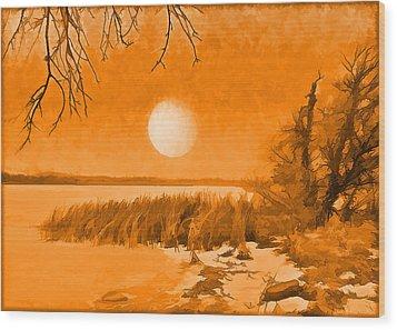 Wood Print featuring the digital art Calm Lake Under Full Moon - Boulder County Colorado by Joel Bruce Wallach