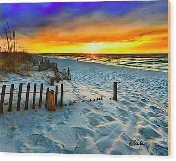 Sunset Landscape-red Beach Sunset Wood Print by Eszra Tanner