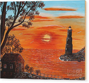 Sunset Lighthouse Wood Print by Barbara Griffin