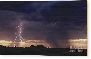 Wood Print featuring the photograph Sunset Lightning-signed by J L Woody Wooden