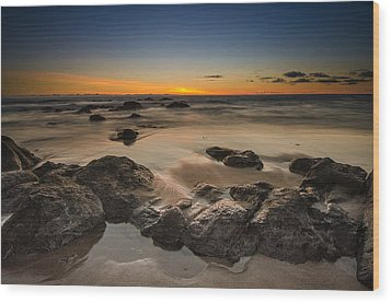 Sunset - Lincoln Beach Wood Print by Tin Lung Chao