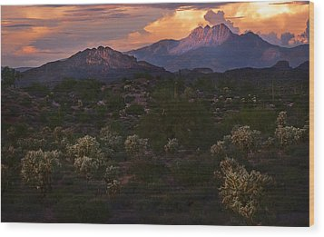 Sunset Lit Cactus Over Four Peaks Wood Print