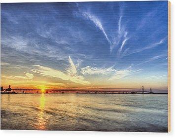 Sunset Mackinac Bridge Wood Print