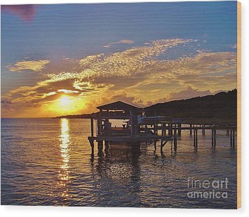 Sunset At Morehead City Nc Wood Print