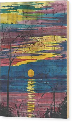 Sunset Melody Wood Print by Beverly Marshall