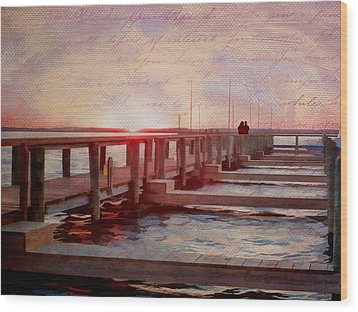 Sunset Memories From Chincoteague Wood Print by Julia Springer