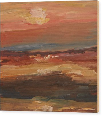 Wood Print featuring the painting Sunset by Michael Helfen