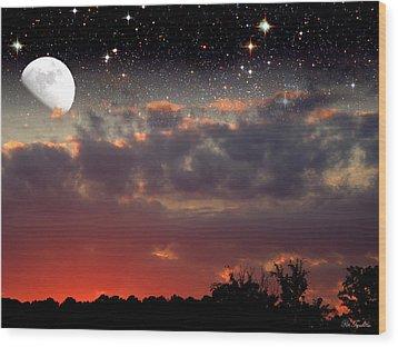 Sunset Moonrise Wood Print