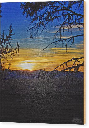 Wood Print featuring the photograph Sunset Mountain To Mountain by Janie Johnson