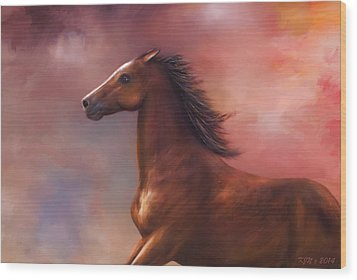 Sunset Mustang Wood Print