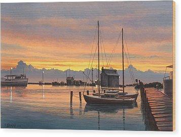 Sunset-north Dock At Pelee Island   Wood Print by Paul Krapf