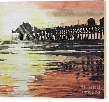 Sunset Oceanside Pier Wood Print by Tom Riggs