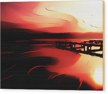 Sunset Of Fire Wood Print