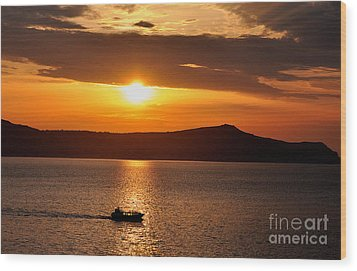 Sunset Off The Island Of Santorini Wood Print by MaryJane Armstrong