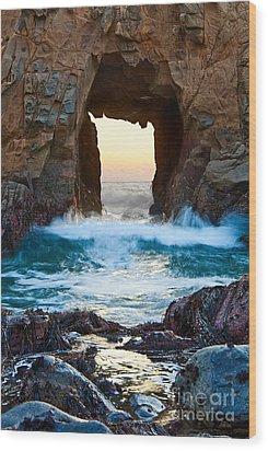 Sunset On Arch Rock In Pfeiffer Beach Big Sur. Wood Print by Jamie Pham