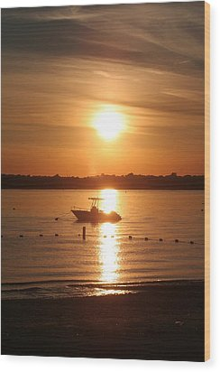 Wood Print featuring the photograph Sunset On Boat by Karen Silvestri